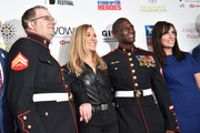 (L-R) Corporal Steven Schulz,  Sheryl Crow, Corporal Kionte Storey and Anne Marie Dougherty attend the 13th annual Stand Up for Heroes to benefit the Bob Woodruff Foundation at The Hulu Theater at Madison Square Garden on November 04, 2019 in New York City.