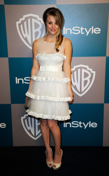 Actress Kaley Cuoco arrives at 13th Annual Warner Bros. And InStyle Golden Globe Awards After Party at The Beverly Hilton hotel on January 15, 2012 in Beverly Hills, California.