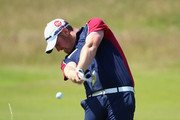 John Singleton of England hits his 2nd shot on the 7th hole during the first round of The 143rd Open Championship at Royal Liverpool on July 17, 2014 in Hoylake, England.