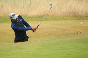 Ryan Moore of the United States hits his third shot from a bunker on the first hole during the second round of the 147th Open Championship at Carnoustie Golf Club on July 20, 2018 in Carnoustie, Scotland.