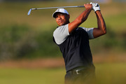 Tiger Woods of the United States plays a shot during a practice round prior to the 148th Open Championship held on the Dunluce Links at Royal Portrush Golf Club on July 16, 2019 in Portrush, United Kingdom.