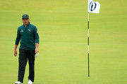 Rickie Fowler of the United States looks on the 18th green during a practice round prior to the 148th Open Championship held on the Dunluce Links at Royal Portrush Golf Club on July 17, 2019 in Portrush, United Kingdom.