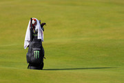 A detail of the bag of Tiger Woods of the United States during a practice round prior to the 148th Open Championship held on the Dunluce Links at Royal Portrush Golf Club on July 16, 2019 in Portrush, United Kingdom.
