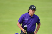 Phil Mickelson of the United States lines up a putt during a practice round prior to the 148th Open Championship held on the Dunluce Links at Royal Portrush Golf Club on July 16, 2019 in Portrush, United Kingdom.