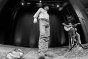 This image was taken with a GoPro and converted to black and white.) Billy Joe Shaver performs during the Billy Joe Shaver Songwriter Session at the Country Music Hall of Fame and Museum during the Americana Music Festival & Conference on September 20, 2014 in Nashville, Tennessee.