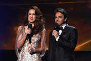 Co-hosts Jacqueline Bracamontes (L) and Eugenio Derbez speak onstage during the 15th Annual Latin GRAMMY Awards at the MGM Grand Garden Arena on November 20, 2014 in Las Vegas, Nevada.