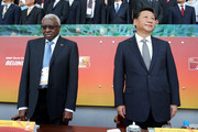 Outgoing president of the IAAF Lamine Diack (L) and President of the People's Republic of China Xi Jinping during the Opening Ceremony for the 15th IAAF World Athletics Championships Beijing 2015 at Beijing National Stadium on August 22, 2015 in Beijing, China.