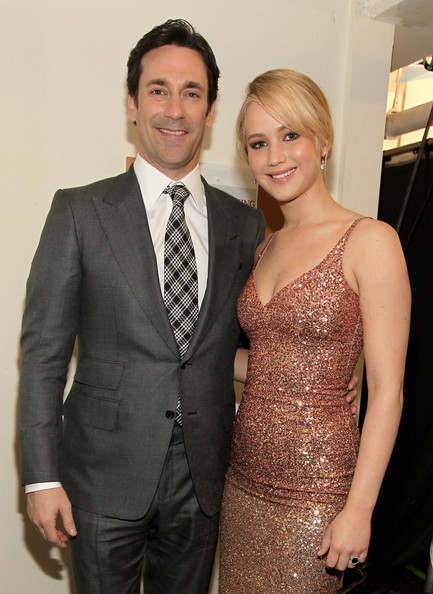 Actor Jon Hamm and actress Jennifer Lawrence during the 16th annual Critics' Choice Movie Awards at the Hollywood Palladium on January 14, 2011 in Los Angeles, California.