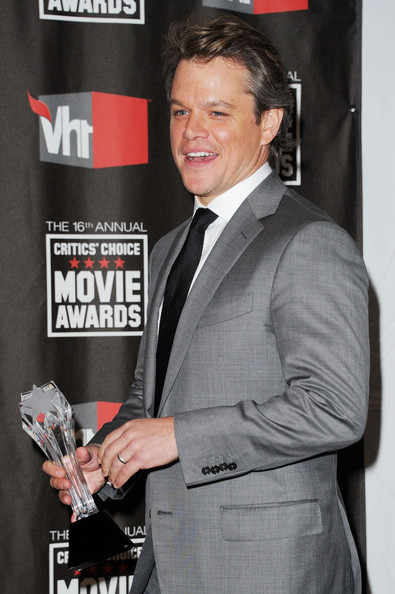 Actor Matt Damon poses with the Joel Siegel award in the press room during the 16th annual Critics' Choice Movie Awards at the Hollywood Palladium on January 14, 2011 in Los Angeles, California.