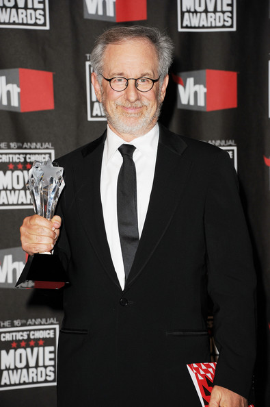 "Producers Steven Spielberg pose with the Best Picture Made For Television for ""The Pacific"" in the press room during the 16th annual Critics' Choice Movie Awards at the Hollywood Palladium on January 14, 2011 in Los Angeles, California."