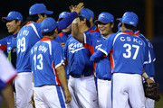 (2nd R) Shin-soo Choo #17 of South Korea celebrates along with his teammates after their 9-3 victory against Chinese Taipei to win the gold medal at Aoti Baseball Field 1 during day seven of the 16th Asian Games Guangzhou 2010 on November 19, 2010 in Guangzhou, China.