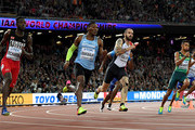 (L-R) Jereem Richards of Trinidad and Tobago, Isaac Makwala of Botswana, Ramil Guliyev of Turkey, Isiah Young of the United States and Wayde van Niekerk of South Africa compete in the mens 200 metres final during day seven of the 16th IAAF World Athletics Championships London 2017 at The London Stadium on August 10, 2017 in London, United Kingdom.