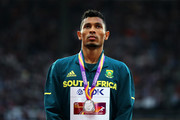 Wayde van Niekerk of South Africa, silver, poses with his medal for the Men's 200 metres during day eight of the 16th IAAF World Athletics Championships London 2017 at The London Stadium on August 11, 2017 in London, United Kingdom.