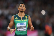 Wayde van Niekerk of South Africa reacts as he crosses the line in the mens 200 metres final during day seven of the 16th IAAF World Athletics Championships London 2017 at The London Stadium on August 10, 2017 in London, United Kingdom.