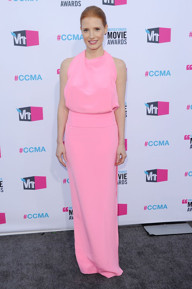 Actress Jessica Chastain arrives at the 17th Annual Critics' Choice Movie Awards held at The Hollywood Palladium on January 12, 2012 in Los Angeles, California.