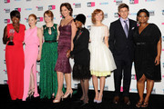 "(L-R) Actresses Viola Davis, Jessica Chastain, Emma Stone, Allison Janney, Cicely Tyson, Ahna O'Reilly, actor Chris Lowell and actress Octavia Spencer, winners of the Best Acting Ensemble Award for ""The Help"" pose in the press room during the 17th Annual Critics' Choice Movie Awards held at The Hollywood Palladium on January 12, 2012 in Los Angeles, California."