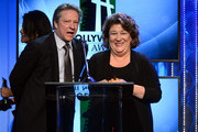 (L-R) Actors Chris Cooper and Margo Martindale accept the Hollywood Ensemble Cast Award for 'August: Osage County' onstage during the 17th annual Hollywood Film Awards at The Beverly Hilton Hotel on October 21, 2013 in Beverly Hills, California.