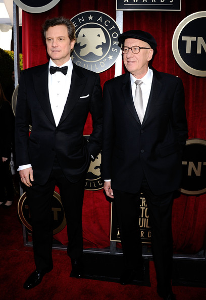 Actors Colin Firth and Geoffrey Rush arrive at the 17th Annual Screen Actors Guild Awards held at The Shrine Auditorium on January 30, 2011 in Los Angeles, California.