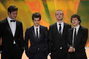 (L-R) Actors Armie Hammer, Andrew Garfield, Justin Timberlake and Jesse Eisenberg speak onstage during the 17th Annual Screen Actors Guild Awards held at The Shrine Auditorium on January 30, 2011 in Los Angeles, California.