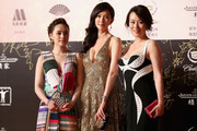 Actress Lin Chi-ling (C), Vivian Wu (R) and Gillian Chung (L) arrive for the red carpet of the 17th Shanghai International Film Festival at Shanghai Grand Theatre on June 14, 2014 in Shanghai, China.