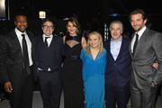 (L-R) Actor Chris Tucker, director David O. Russell, actors Jennifer Lawrence, Jacki Weaver, Robert De Niro and Bradley Cooper attend the 18th Annual Critics' Choice Movie Awards held at Barker Hangar on January 10, 2013 in Santa Monica, California.
