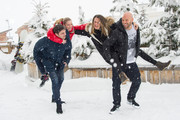 (L-R) Adrianna Gradziel, Pio Marmai, Franck Gastambide and Camille Cottin pose during the photocall for 'Toute premiere fois' during the 18th L'Alpe D'Huez International Comedy Film Festival in l'Alpe d'Huez, France.