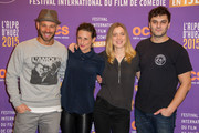 Adrianna Gradziel, Pio Marmai, Franck Gastambide and Camille Cottin  attend the closing ceremony of the 18th L'Alpe D'Huez International Comedy Film Festival in l'Alpe d'Huez, France.