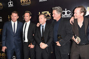(L-R) Actors Channing Tatum, Walton Goggins, Tim Roth, Kurt Russell and James Parks pose with the Hollywood Ensemble Award for 'The Hateful Eight' during the 19th Annual Hollywood Film Awards at The Beverly Hilton Hotel on November 1, 2015 in Beverly Hills, California.