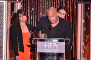 "(L-R) Honorees Michelle Rodriguez, Vin Diesel and Jordana Brewster accept the Hollywood Blockbuster Award for ""Furious 7"" onstage during the 19th Annual Hollywood Film Awards at The Beverly Hilton Hotel on November 1, 2015 in Beverly Hills, California."