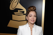 Natalia Lafourcade poses with the Best Folk Album award backstage at the Premiere Ceremony during the 19th Annual Latin GRAMMY Awards at MGM Grand Hotel & Casino on November 15, 2018 in Las Vegas, Nevada.