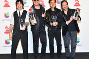 (L-R) Alex Gonzalez, Fher Olvera, Juan Calleros and Sergio Vallin of Mana, winners of Person of the Year, pose in the press room during the 19th annual Latin GRAMMY Awards at MGM Grand Garden Arena on November 15, 2018 in Las Vegas, Nevada.