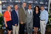 (L-R) Executive director of Nantucket Film Festival Mystelle Brabbee, Epix CEO Mark Greenberg, director Steve James, screenwriter Aaron Sorkin and co-founders of Nantucket Film Festival Jill Burkhart and Jonathan Burkhart attend The Screenwriters Tribute at The 19th Annual Nantucket Film Festival on June 28, 2014 in Nantucket, Massachusetts.