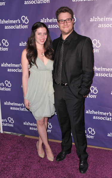 "Actress Lauren Miller and actor Seth Rogen arrive to the 19th Annual ""A Night at Sardi's"" benefitting the Alzheimer's Association on March 16, 2011 in Beverly Hills, California."