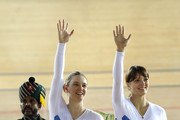 Jenny Davis and Charline Joiner of Scotland celebrate their silver medal in the Women's Team Sprint final at the medal ceremony for the Track Cycling event at the IG Sports Complex during day three of the Delhi 2010 Commonwealth Games on on October 6, 2010 in Delhi, India.