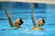 The pairing of Kavita Kolapkar and Bijal Vasant of India compete in the Duet Technical Routine at the Dr S.P. Mukherjee Aquatics Complex during day three of the Delhi 2010 Commonwealth Games on October 6, 2010 in Delhi, India.