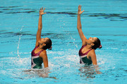 The pairing of Bijal Vasant and Kavita Kolapkar of India compete in the Duet Free Routine at the Dr.S.P. Mukherjee Aquatics Complex during day four of the Delhi 2010 Commonwealth Games on October 7, 2010 in Delhi, India.