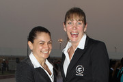 Temepara George (L) and Irene Van Dyk (R) of the Silver Ferns during the New Zealand team welcoming ceremony in the International Zone of the Athletes Village ahead of the Delhi 2010 Commonwealth Games on October 2, 2010 in Delhi, India.