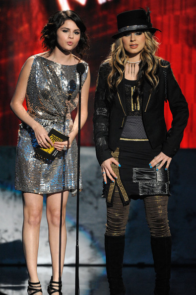 Selena Gomez Actress Selena Gomez (L) and singer Orianthi onstage at the 2009 American Music Awards at Nokia Theatre L.A. Live on November 22, 2009 in Los Angeles, California.