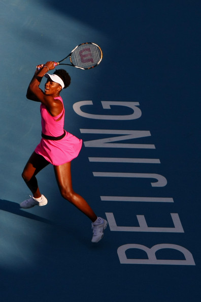 Venus Williams Venus Williams of USA returns a shot against Anastasta Pavlyuchenkova of Russia in her second round match during day four of the 2009 China Open at the National Tennis Centre on October 5, 2009 in Beijing, China.