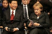 German Chancellor Angela Merkel and Chinese Vice President Xi Jinping are seen during the opening ceremony of the 61st Frankfurt Book Fair on October 13, 2009 in Frankfurt am Main, Germany.
