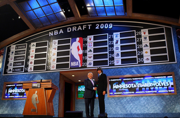 NBA Commissioner David Stern poses for a photograph with the fifth overall draft pick by the Minnesota Timberwolves,  Ricky Rubio during the 2009 NBA Draft at the Wamu Theatre at Madison Square Garden June 25, 2009 in New York City. NOTE TO USER: User expressly acknowledges and agrees that, by downloading and/or using this Photograph, User is consenting to the terms and conditions of the Getty Images License Agreement.