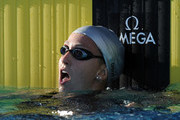 Rebecca Soni reacts to a first place finish in the Women 100 LC Meter Breastroke Final at the William Woollett Jr. Aquatics Complex on August 5, 2010 in Irvine, California.