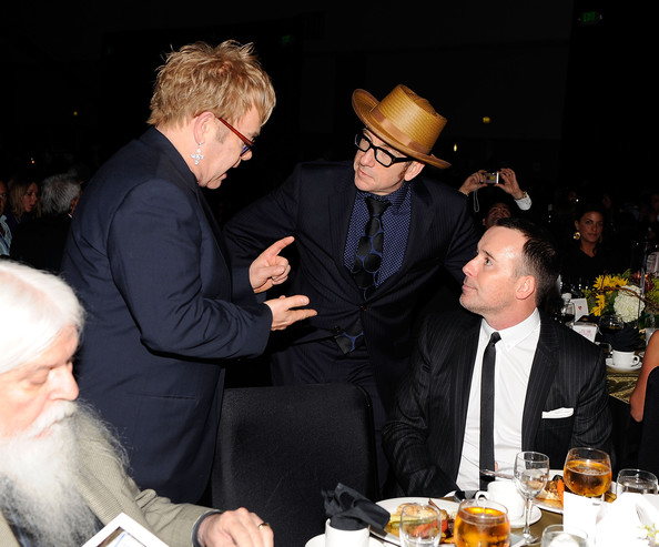 Musicians Elton John and Elvis Costello attend the  2010 MusiCares Person Of The Year Tribute To Neil Young at the Los  Angeles Convention Center on January 29, 2010 in Los Angeles,  California
