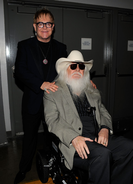 Musicians Elton John and Leon Russell attend the  2010 MusiCares Person Of The Year Tribute To Neil Young at the Los  Angeles Convention Center on January 29, 2010 in Los Angeles,  California