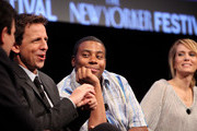 (L-R) Seth Meyers, Kenan Thompson, and Kristen Wiig during the 2010 New Yorker Festival at Acura at SIR Stage37 on October 3, 2010 in New York City.
