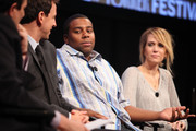 (L-R) Seth Meyers, Kenan Thompson and Kristen Wiig during the 2010 New Yorker Festival at Acura at SIR Stage37 on October 3, 2010 in New York City.