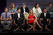 "Actor Bryce Johnson, Executive Producer Kerry Kohansky, actor Mark Deklin, Executive Producer Chris Keyser, actress Eloise Mumford, Executive Producer Amy Lippman, actor James Wolk, and Creator/Writer/Executive Producer Kyle Killen speak onstage during the ""Lone Star"" panel for the FOX portion of the summer Television Critics Association press tour at the Beverly Hilton Hotel on August 2, 2010 in Beverly Hills, California."
