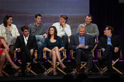 """Executive Producer Amy Lippman, actor James Wolk, Creator/Writer/Executive Producer Kyle Killen, actress Adrianne Palicki, Executive Producer Peter Horton, actor Jon Voight, Director Mark Webb and actor David Keith speak onstage during the """"Lone Star"""" panel for the FOX portion of the summer Television Critics Association press tour at the Beverly Hilton Hotel on August 2, 2010 in Beverly Hills, California."""