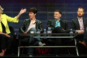 """(L-R)  Executive producer Rebecca Eaton, actor Benedict Cumberbatch, co-creators Steven Moffat and Mark Gatiss of the television show """"Sherlock"""" speak during the PBS portion of the 2010 Summer TCA Press Tour at the Beverly Hilton Hotel on August 4, 2010 in Beverly Hills, California."""