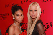 Models Chanel Iman and  Karolina Kurkova attend the after party following the 2010 Victoria's Secret Fashion Show at Lavo on November 10, 2010 in New York City.